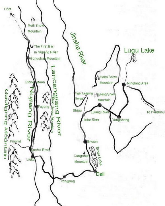 Map of Three Parallel Rivers of Yunnan Protected Areas,Diqing Tours