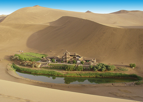 The Crescent Moon Lake and the Singing Sand Mountain are amazing desert attractions in Dunhuang.