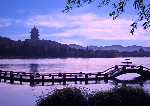 Beautiful sunset by the West Lake in Hangzhou