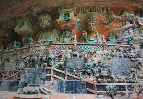 Dazu Rock Caves in Chongqing enjoys great fame in China.