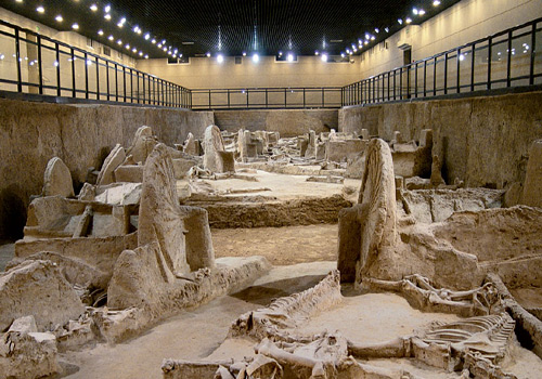 Museum of Chariot and Horse Pits of Eastern Zhou Dynasty is one of the original-site museum in China.