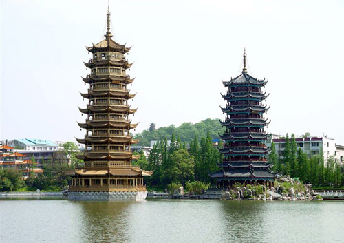 The Sun and Moon Towers stand amidst the Shan Lake (Chinese Fir Lake) in dowtown Guilin.
