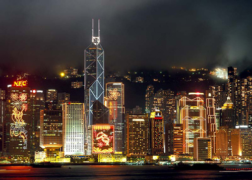 Beautiful night scene of Victoria Harbour in Hong Kong.