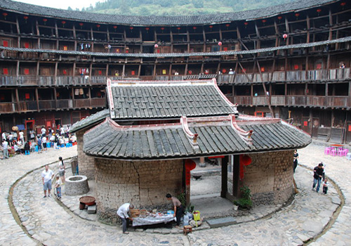 Ancestral Hall of Yuchang Earthen Building was Built in the Courtyard.