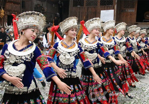 Miao People in Kaili are Celebrating Their Festival.