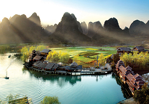 The peaceful scene of the Shangri-La,Guilin