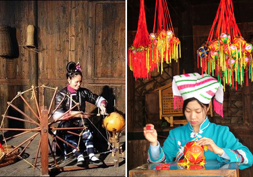 The ethnic monority females in the Shangri-La of Guilin are weaving and making embroidered balls.