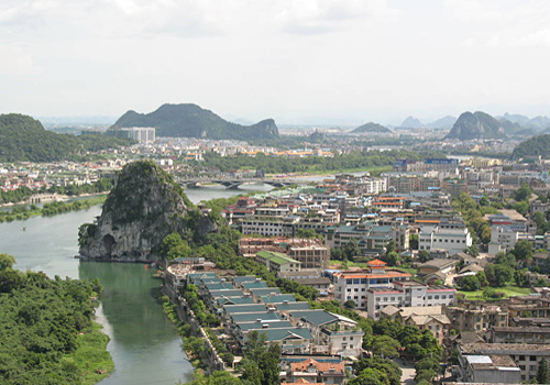 The Diecai Hill stands by the Li River near downtown Guilin.