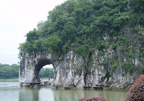 The Elephant Trunk Hill is naturally like a giant elephant drawing water by the Li River, Guilin.