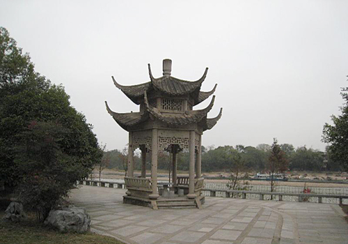 A pavilion by Li River in the Elephant Trunk Hill Park,Guilin