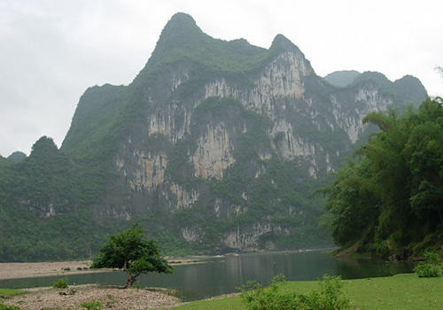 The Nine Horses Fresco Hill is seen as a mark of Li River.
