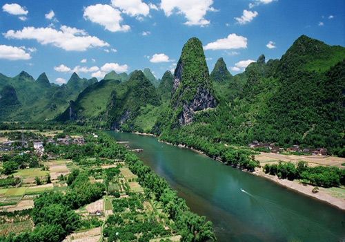 The Li River look like a green belt from a distance.