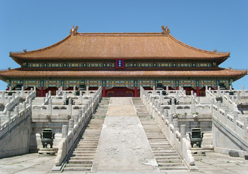 The Hall of Supreme Harmony is the most important and largest one among the three main buildings of the Outer Court of Forbidden City, Beijing.
