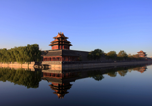 A peaceful sight of one of the watch towers of the Forbidden City.