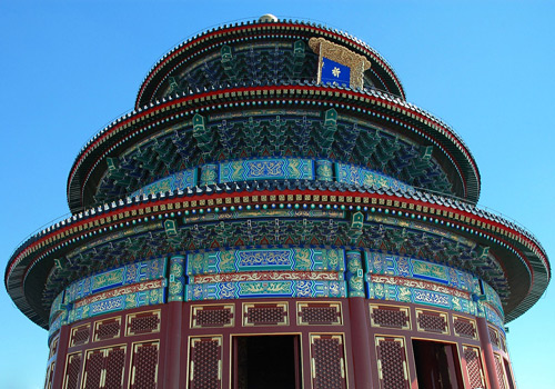 A vertical view of the Temple of Heaven,Beijing