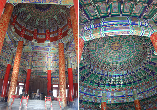 The inside of the Temple of Heaven is painted with exquisite and colorful patterns.