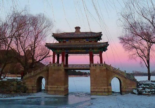An amazing winter scene of Summer Palace at dusk