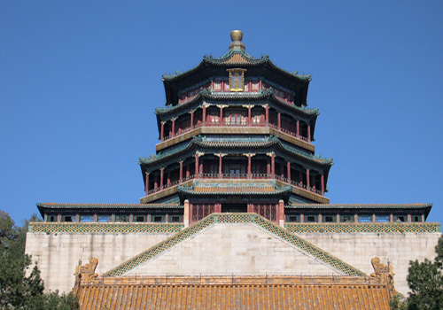 Tower of Buddhist Incense is an elaborate work of Chinese classical architecture in the Summer Palace park.