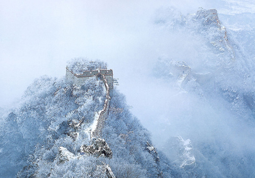 Amazing snow scene of Mutianyu Great Wall in winter.