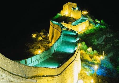 Fantastic night view of the Badaling Great Wall.