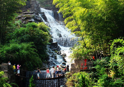 You can see the Baofeng Waterfall and cute suspension bridge after entering into the scenic area.
