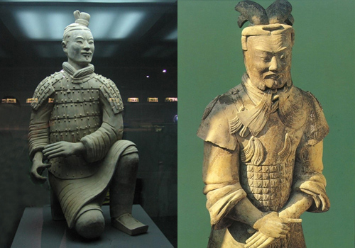 Terracotta Warriors military ranks can be differentiate this way and by their hair dress and hat also,Xi'an.