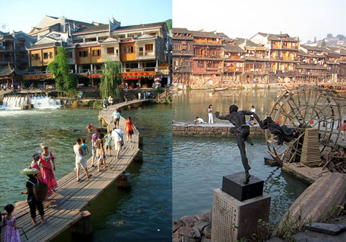 Fenghuang is a small town building along the river, waterwheels,bridges,boats,it is a interesting place receiving tourists from all over the world.