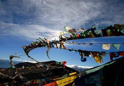 Prayer flags, it is made with tandem 5 small flags, the order of the color is blue, white, red, green and then yellow.