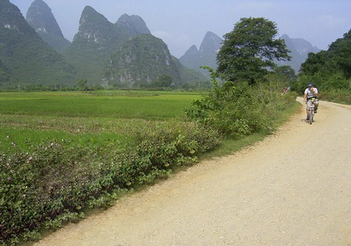Some biking lovers are having their trip on the uneven country road in the outskirt of Yangshuo.