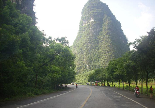 Travellers can enjoy both exercise and natural beauty when biking in the outskirt of Yangshuo.