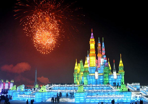 Harbin Great Snow and Ice World by the Songhua River,Harbin
