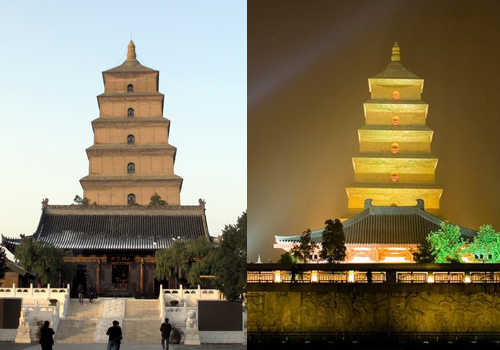 The scenes of the Big Wild Goose Pagoda in Xi'an at day and night.