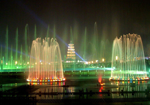 The beautiful night scene of the Music Fountain Square of Big Wild Goose Pagoda,Xi'an.