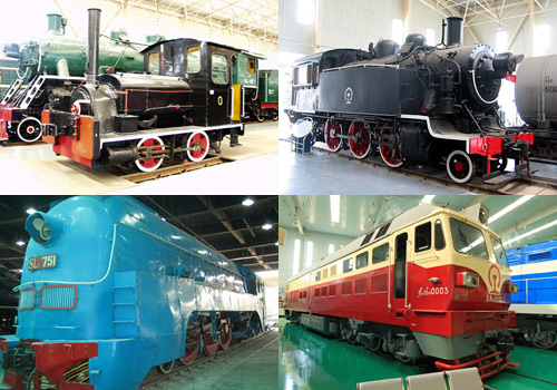 Exhibited steam locomotives produced in different ages are displayed in the Shenyang Steam Locomotive Museum.