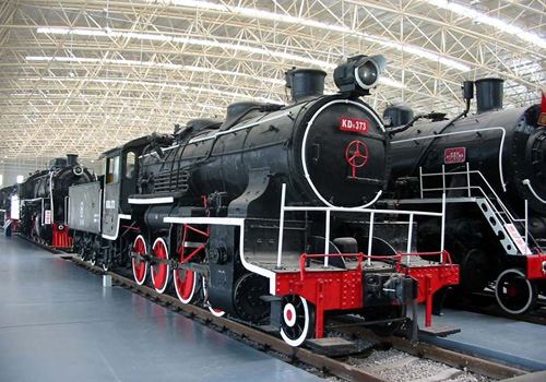 An old exhibit in the Shenyang Steam Locomotive Museum.