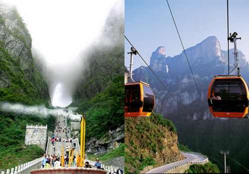 The foggy Tianmen Cave shows a mysterious view to the world. The Tianmenshan cable cars is the longest one in the world.