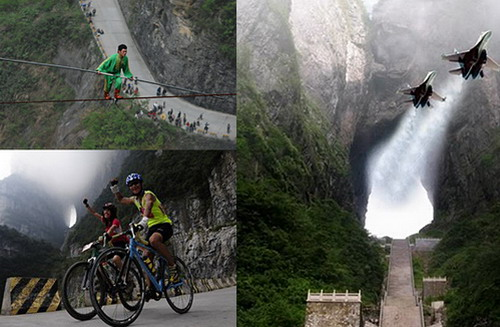 Walking on the high performance rope at Tianmenshan,biking at Tianmenshan mountain road, pilots flying through the Tianmen Cave.