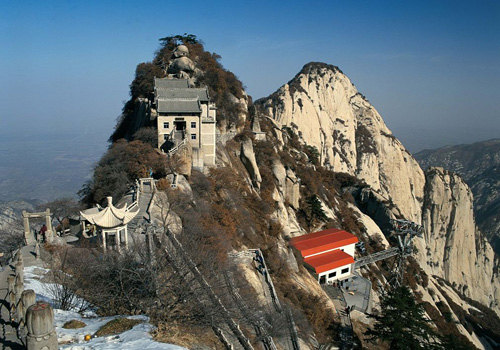 The Huashan Mountain is famous for its extreme steepness.