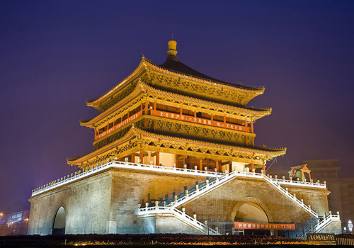 The night scene of the Bell Tower in Xi'an.