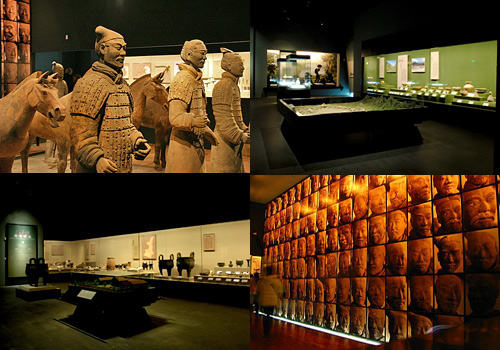 Exhibits in Exhibition Hall No.1 of Shaanxi History Museum include figuline army,earthenwares,bronze wares,etc.