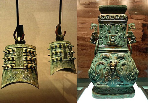 Bronze musical instruments and vessel exhibited in Shaanxi History Museum.