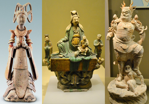 Terracotta figurines of a maid of honour,Buddhas and a god in Shaanxi History Museum.