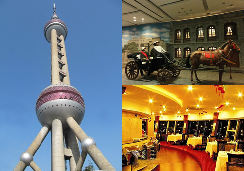 Oriental Pearl includes a exhibition hall and a rotating restaurant.