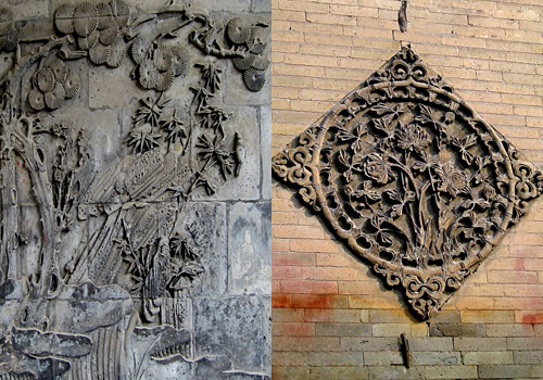 Exquisite stone carvings on the wall inside the Great Mosque in Xi'an,Shaanxi Province.