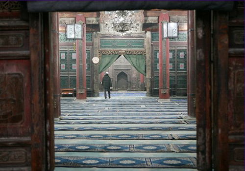 The great hall where Muslims pray and worship in the Xi'an Great Mosque.