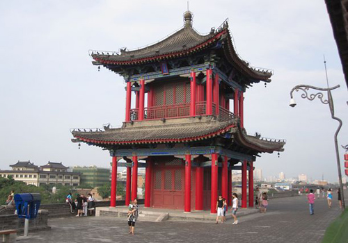 A traditional Chinese building on the Ancient City Wall of Xi'an, Shaanxi Province.