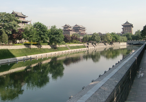 The city moat along the Ancient City Wall of Xi'an, Shaanxi Province.