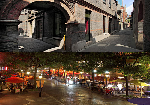 The day and night scenes of Shanghai Xintiandi.