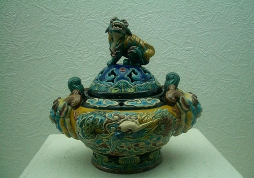 Exquisite glazed pottery displayed in the Museum of Mausoleum of Emperor Qinshihuang, Xi'an, Shaanxi Province.
