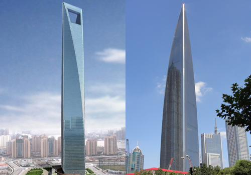 Shanghai World Financial Center in different angles
